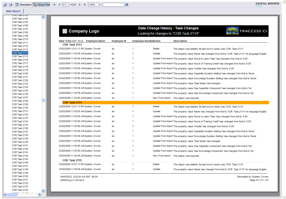 dialogs data change history report template wizard